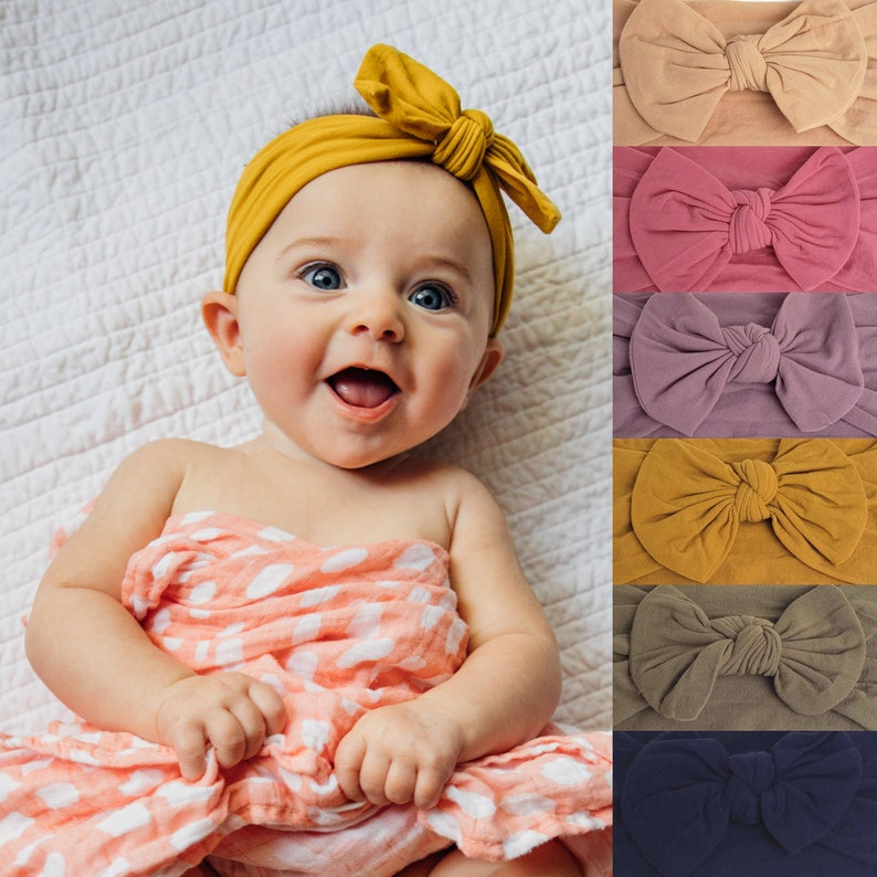 New Baby Headbands Big Bowknot Infant Girls Headwrap Newborn Turban Headbow