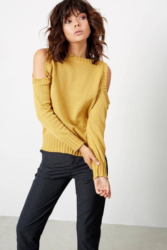 shoulder Fall Sweater Clothing Knit Unique Womens Clothes the Off clothing Womens Fall Sweaters Shirts 6Tvqqzw
