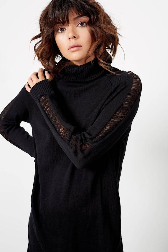 Fall Turtleneck Dresses Dresses clothing Dress Dress Fall Black Knit Boho Black Womens Sweater Clothing Sexy Sweater Dress Winter xqaAH6w4Ht