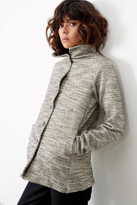 Wife Jacket Women Jacket Clothes Clothes Present Ladies for Winter Grey Printe Buttoned Women Womens Clothing Jackets Ladies Cv7Rq5Wq