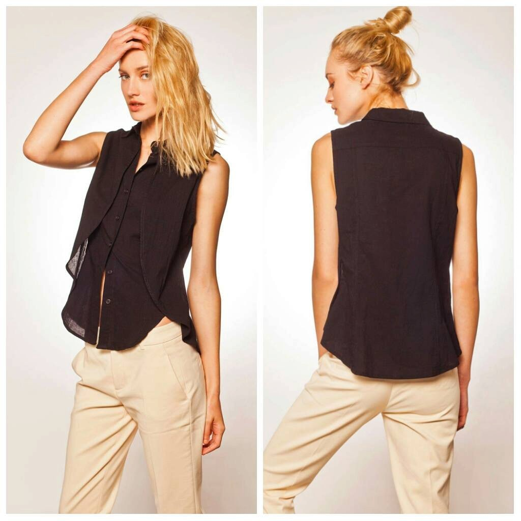 Sleeveless Blouse Black Button Down Button Down Collared Etsy