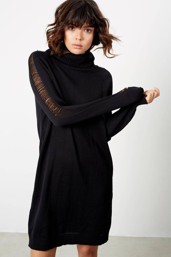 Sexy Dresses Womens Turtleneck Sweater Black Knit Dress Boho Dress Sweater Fall clothing Clothing Winter Fall Dresses Black Dress tqYHB