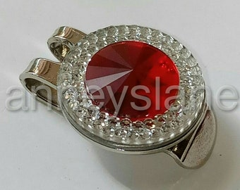 Anneys Golf ball marker - 20mm diameter + hat clip - rhinstone clear/ red