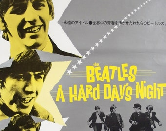 Movie Poster. The Beatles. A Hard Day's Night. Vintage Movie Poster. Film Poster. Music. Comedy. Music Video. Japanese Movie Poster.