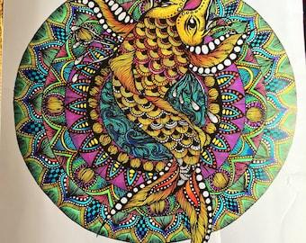 A3 Hand Coloured Koi Mandala Digital Print