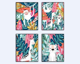 Safari Nursery Prints, Nursery Jungle Prints, Playroom Wall Art Printable, Nursery Wall Art, Colorful Nursery Prints, Nursery Prints