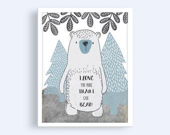 Boys Nursery Prints | I Love You More Than I Can Bear | Nursery Wall Art | Nursery Decor | Printable Nursery Wall Art | Bear Print