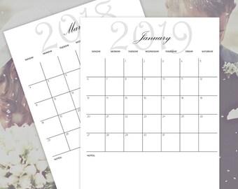 Printable Calendars 2018 - 2019 - 2020 - 2021, Monthly Calendars, Wedding Planner Calendars