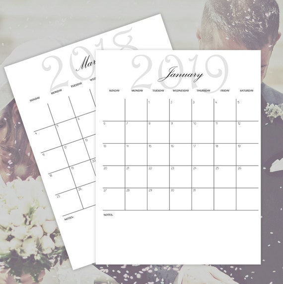 Printable Calendars 2018 2019 2020 2021 Monthly Etsy