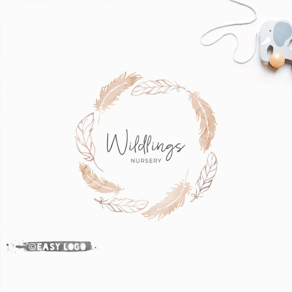 Wreath Template | Boho Feathers Logo Design Premade Wreath Template Boutique Etsy