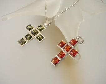 Double-Sided Baltic Amber and Sterling Silver Cross - Natural Honey / Green  Amber Cross Necklace