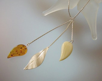 Baltic Amber and Sterling Silver Necklace - Natural Honey and Butterscotch Amber Jewelry