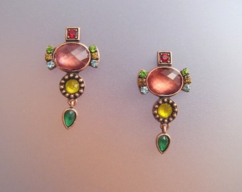 Copper Drop Earrings -  Dangle Earrings with Swarovski Crystals - Artisan Crafted Jewelry