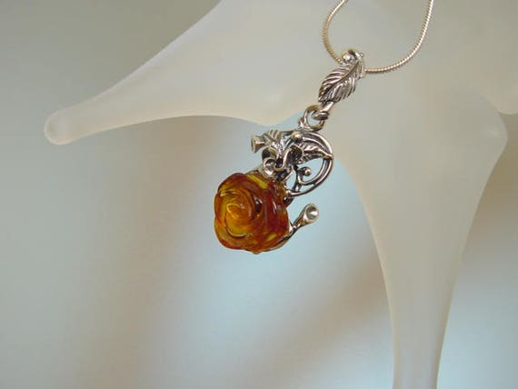 Baltic Amber in sterling silver Pendant