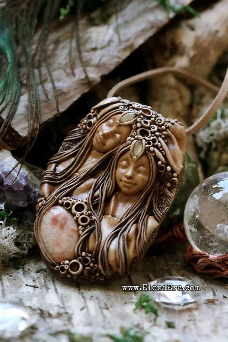 Clay Jewelry Talisman Necklace Boho Goddess Wild Woman Healing Woman Twin Goddesses Necklace Free Spirit Talisman Gypsy Goddess