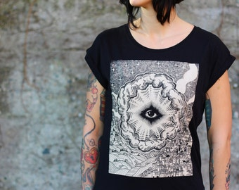 Women's t-shirt, Eye of Providence shirt, ALL SEEING EYE of god T-shirt, illuminati tshirt, steampunk clothing, masonic eye, occult clothing
