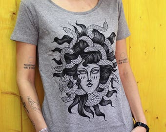 medusa t-shirt, women's shirt, snake shirt, Greek Mythology T SHIRT, tattoo tshirt, Serpent Haired Monster T SHIRT  steampunk clothing