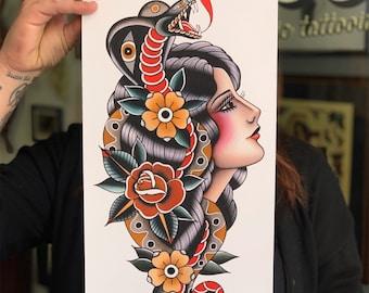 ab37ea6e2 Tattoo print, snake and lady fine art print by gaia leone. Hardtimes tattoo,  traditional tattoo, old school tattoo, lady traditional tattoo