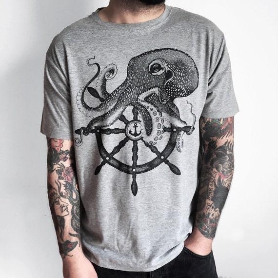 Tentacles Gift for Him, Graphic Tee for Him, Mens Tshirt, Mens Octopus Shirt, Kraken Shirt for Him
