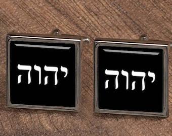 Tetragramaton Symbol Cuff Links, personalized Custom Tetragrammaton cufflinks, square cufflinks, tie clips,groom,groom cufflinks