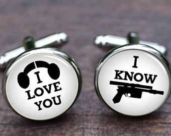 I love you,I know cufflinks, i love you i know, round cuff links, wedding groom jewelry, Groom Cuff Links, husband cufflinks