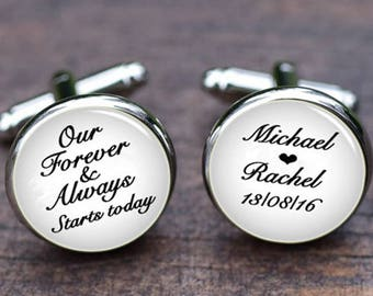 Cuff links, Our forever & always starts today Cufflinks, Groom anniversary gift, Men's Wedding Cufflinks, Custom name and date tie clips