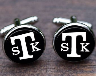 Customize initials three letters, custom monogrammed cuff links, Groom Wedding Cuff link, Monogram initial ,Men's Accessory