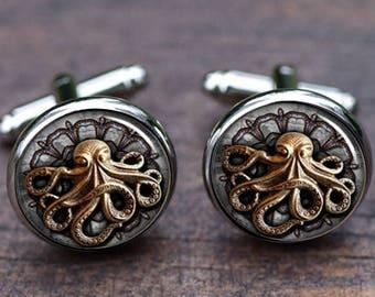 289411b9a079 Octopus Cufflinks, Mens Octopus Cufflinks, Silver handmade octopus, Sea  Animal, Marine Christmas Gifts