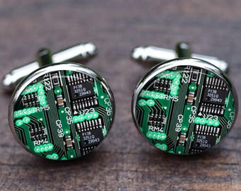 Circuit board Cuff links, mens green circuit board, domed printed real computer circuit, computer, Electronics Engineer