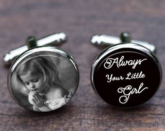 Father of the Bride Cuff links, Custom image photo picture, Always your little girl Personalized wedding Tie clips Set, Bridal Party Gift