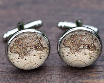 World map cufflinks, custom city map, groomsmen gift, Handmade Vintage Map Wedding Gifts, Christmas & New year Gifts