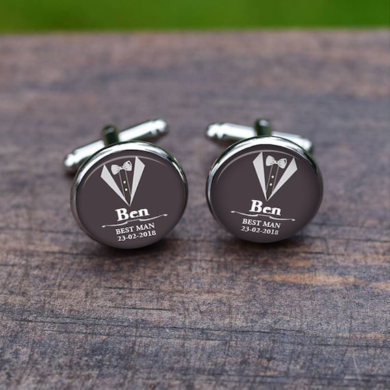 Best Man Cufflinks Custom Name And Date Cuff Links Clothes Etsy