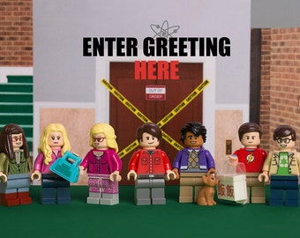 DIGITAL DOWNLOAD - Personalised A5 Greetings Card printable featuring Big Bang Theory themed LEGO minifigs