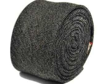 black and white herringbone 100% tweed wool tie by Frederick Thomas FT2137
