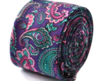 purple paisley wool linen tie by Frederick Thomas FT1639