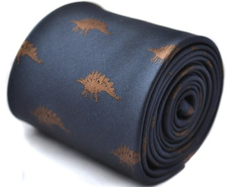 navy tie with stegosaurus dinosaur embroidered design with signature floral design to the rear by Frederick Thomas FT1567