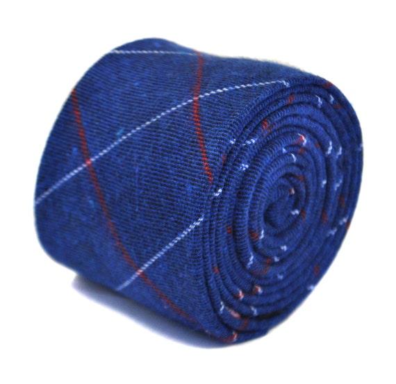 Frederick Thomas mens light blue /& white cotton//linen tie check pattern