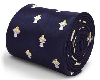 corbata azul marino con diseño de angel bordado con diseño floral de la firma en la parte trasera de Frederick Thomas FT3313