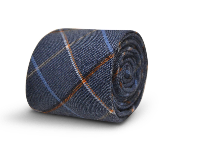 Check Skinny Frederick Thomas Designer Tweed Wool Mens Tie Dark Grey /& Red