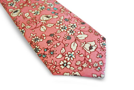 Frederick Thomas mens cotton tie in pink with floral pattern FT3137