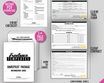 freelance hairstylist contracts package wedding instant download hairstylist business forms freelance wedding hairstylist forms