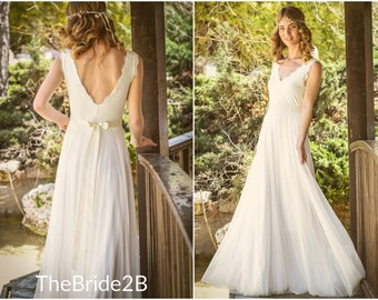 2faef1086dd0 bohemian wedding dress, boho wedding dresses, lace vintage wedding gown,  beach casual unique bridal hippie white ivory open back country