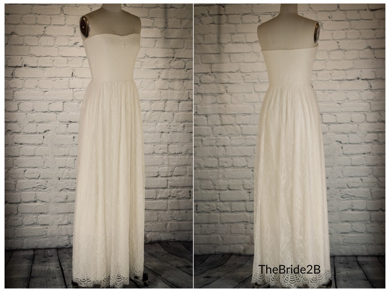 Lace Wedding Dress Simple Beach Wedding Dresses Boho Casual Wedding Gown Bohemian Wedding Gowns Deep V Neck Lace Rustic Bridal Bride Ivory