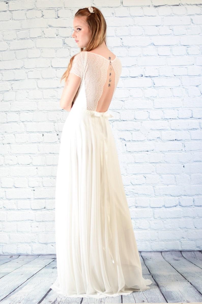 f60f023c0c7 Boho wedding dress with sleeves lace wedding dress.simple
