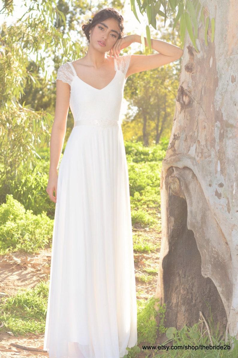 9c11160c8a8 Open back wedding dress Boho wedding dress with sleeves