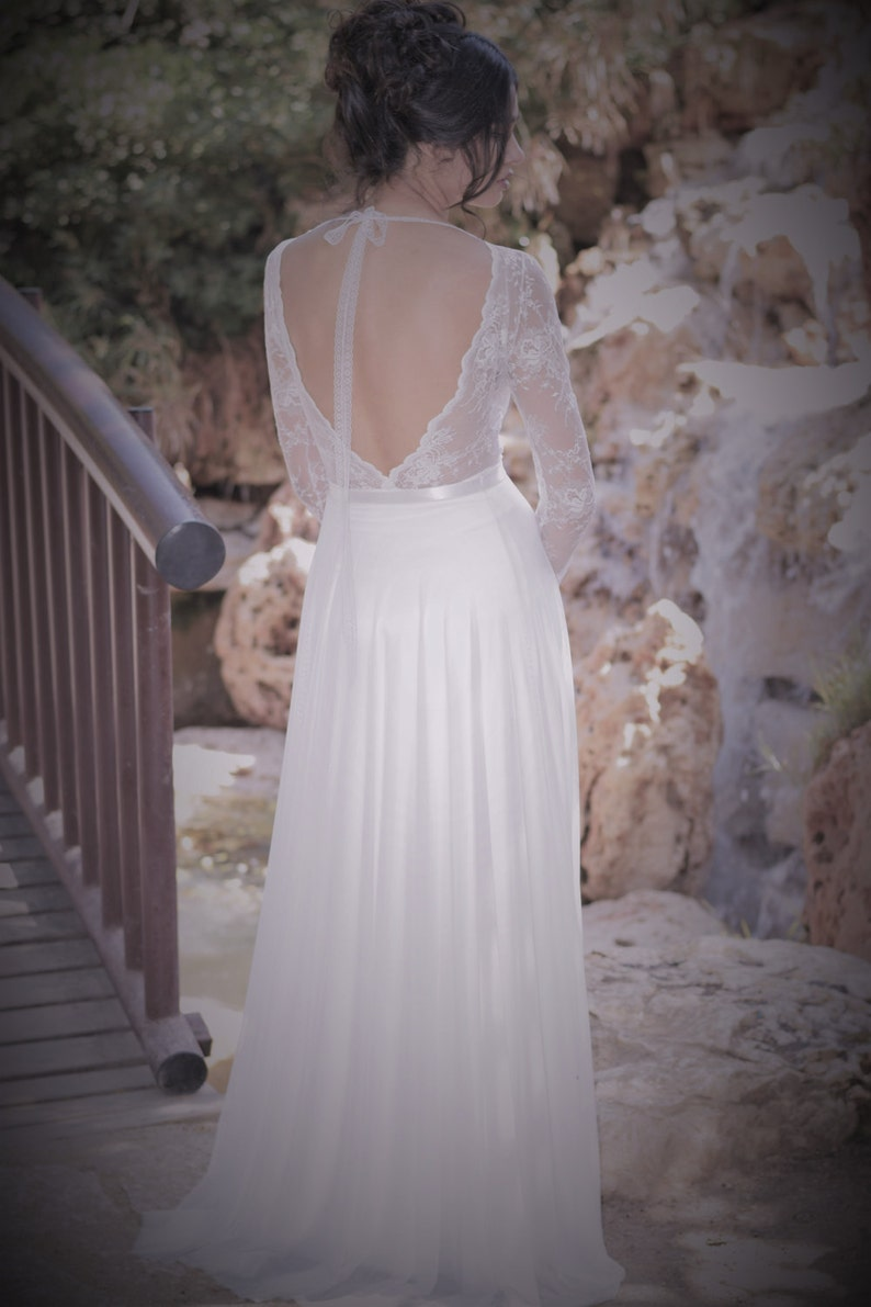 b4b7a6f0dfe Emma Romantic wedding dress with long lace sleeves and