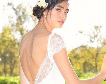 Jenny- Boho wedding dress, lace wedding dress, beach wedding dress, wedding dress with sleeves