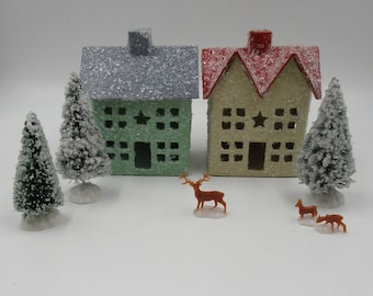 Vintage Style Putz House with Glitter Snow Set, Christmas Village, Hand Painted Paper Mache Houses with Glitter Snow Trees and Deer