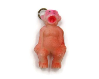Vintage Pink Screaming Monkey Ape Gorilla Celluloid Charm Made in Japan 7/8""