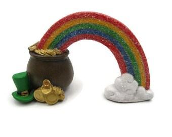 St Patricks Day Pot of Gold and Rainbow, Miniature Rainbow and Pot of Gold, St Patricks Day Decor, St Patricks Day Gift